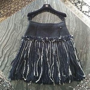 CHANEL - tweed fringe skirt